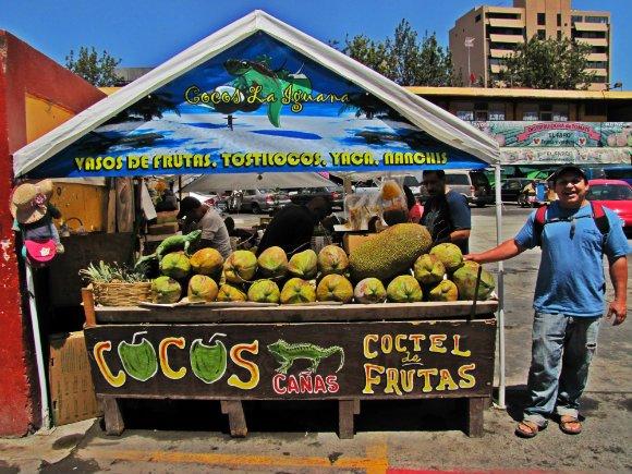 Fresh coconuts for sale, Mercado Hidalgo, Tijuana, Mexico