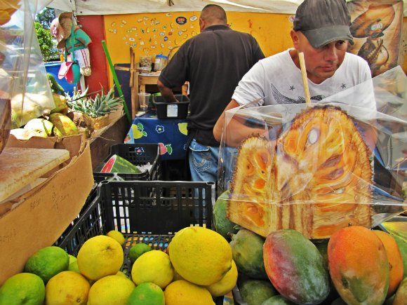 Fresh jackfruit and lemonade for sale, Mercado Hidalgo, Tijuana, Mexico