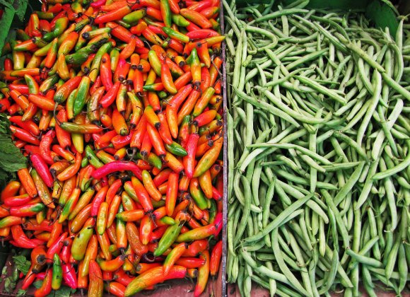 Chilies and green beans, Mercado Hidalgo, Tijuana, Mexico