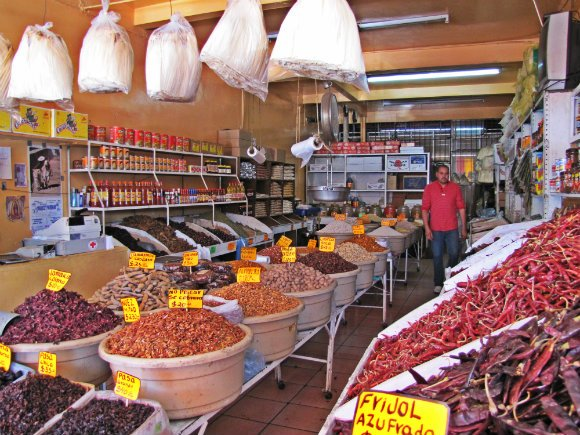 Dry chiles, tamarind and other goods, Mercado Hidalgo, Tijuana, Mexico