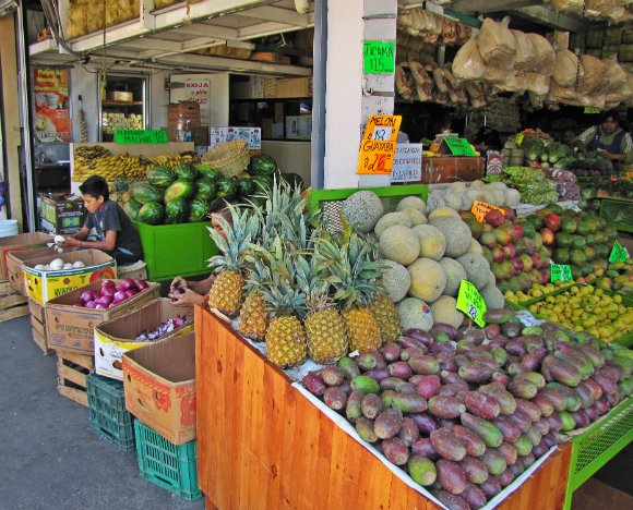 Fruit stand, Mercado Hidalgo, Tijuana, Mexico