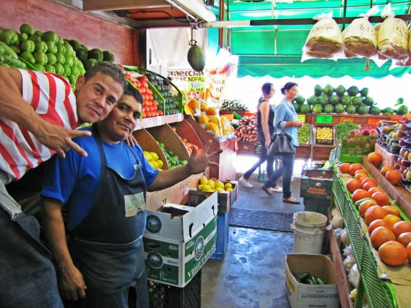 Vendors posing for the camera, Mercado Hidalgo, Tijuana, Mexico