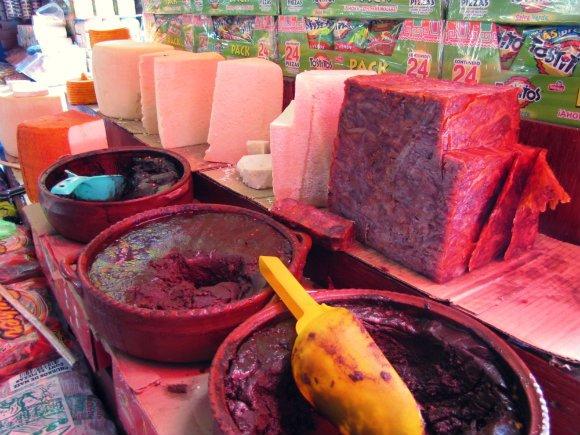Mole, cheese and pressed pork, Mercado Hidalgo, Tijuana, Mexico