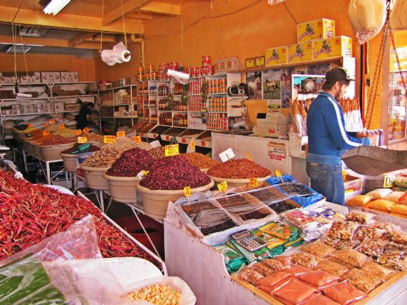 Dried and pulverized goods, Mercado Hidalgo, Tijuana, Mexico