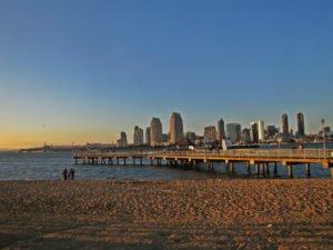 Coronado Pier, Ferry landing, San Diego Skyline at sunset