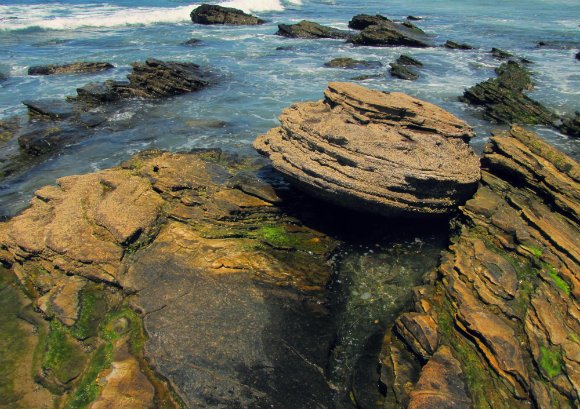 Rock formation (macaron) near historic district, , Crystal Cove, Laguna Beach, California