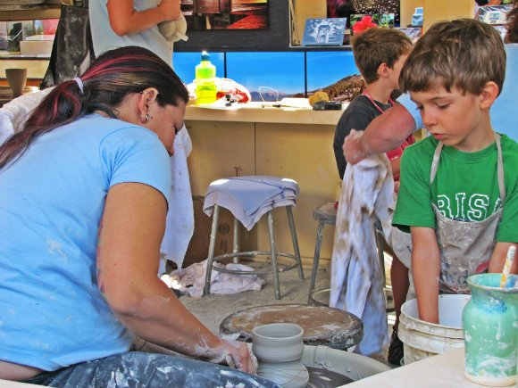 Kids taking ceramic classes, Sawdust Art Festival, Laguna Beach