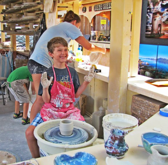 Kids taking ceramic classes, Sawdust Art Festival, Laguna Beach, California