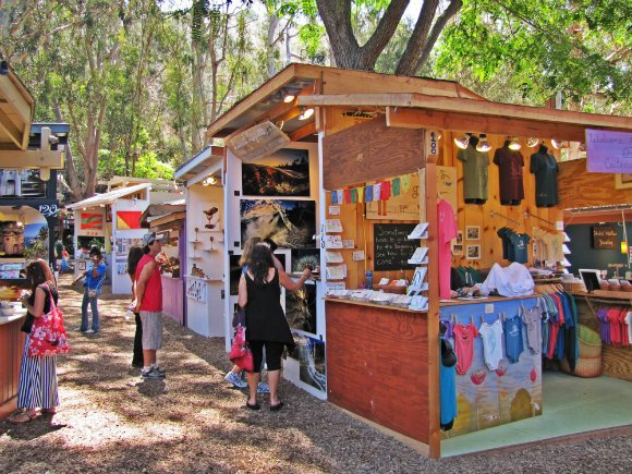 Colorful booths, Sawdust Art Festival, Laguna Beach, California