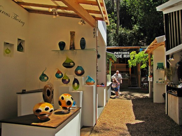Vases on display, Sawdust Art Festival, Laguna Beach, California