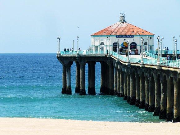 manhattan beach pier, pier and roundhouse, aquarium