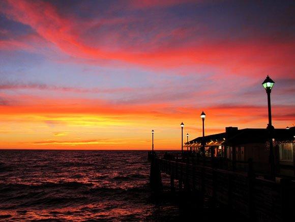 Orange and yellow sunset at Redondo Beach Pier, Redondo Beach pier sunset