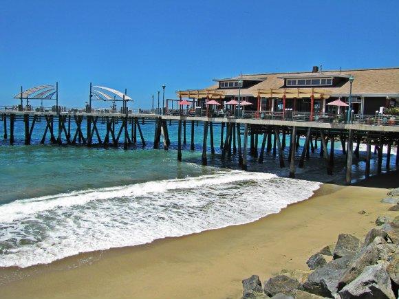 pier beach and sails, horseshoe shaped pier, Redondo Beach Pier