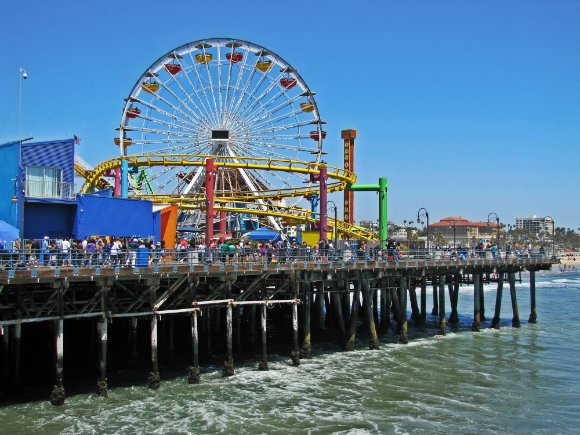 Multicolored Santa Monica Pier, ferris wheel at Santa Monica, ferris wheel at pier, amusement park at pier, amusement park at Santa Monica
