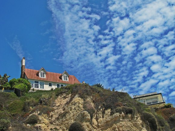 Mansion over cliffs in Westward Beach, Malibu, California