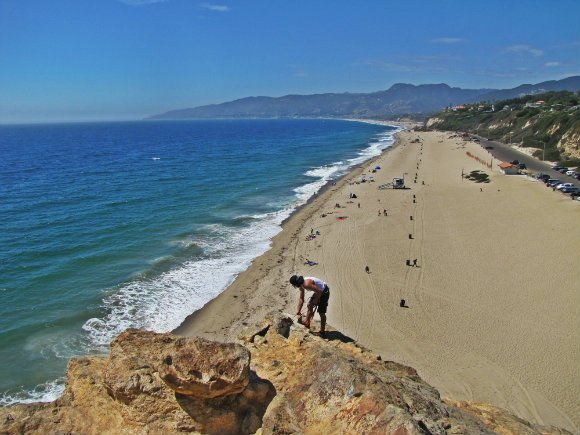 Rock climbing at Point Dume, Malibu, California
