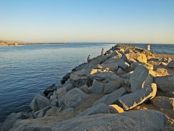 The long breakwater,  Newport Beach, California