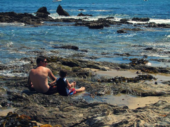 Father and son, Little Corona del Mar, Newport Beach, California