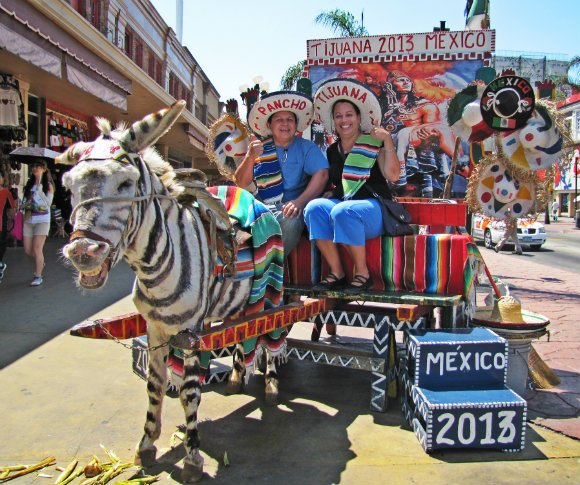 Ruth and Oscar with a zonkey, Tijuana, Mexico