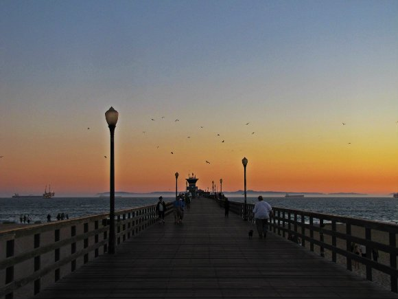 Pier at sunset, Seal Beach, California