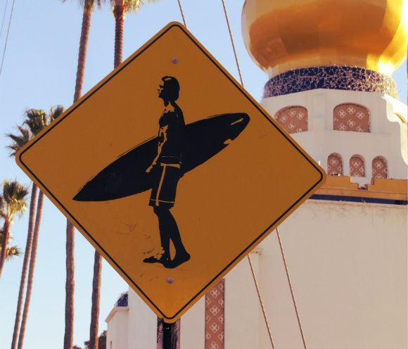 Surfing sign, Encinitas, California