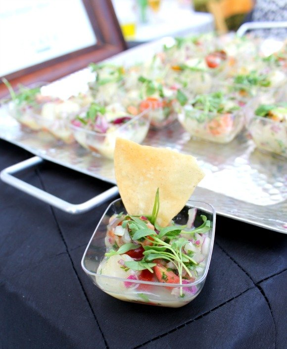 Salmon and bay scallop sample by Chaya, Vintage Bouquet Extravaganza, Greystone Mansion, Beverly Hills
