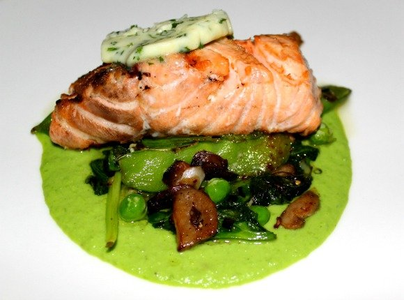 Grilled Salmon at Blvd 16, a Kimpton Restaurant located at the Hotel Palomar in Westwood