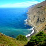 Beach at the base of the cliffs, Ragged Point, Big Sur, California