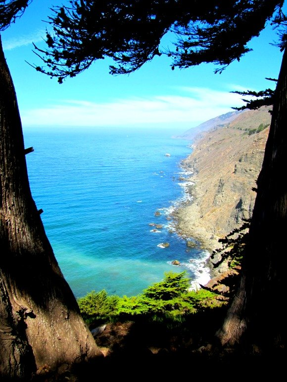 Beach at the base of the cliffs, Ragged Point, Big Sur, California
