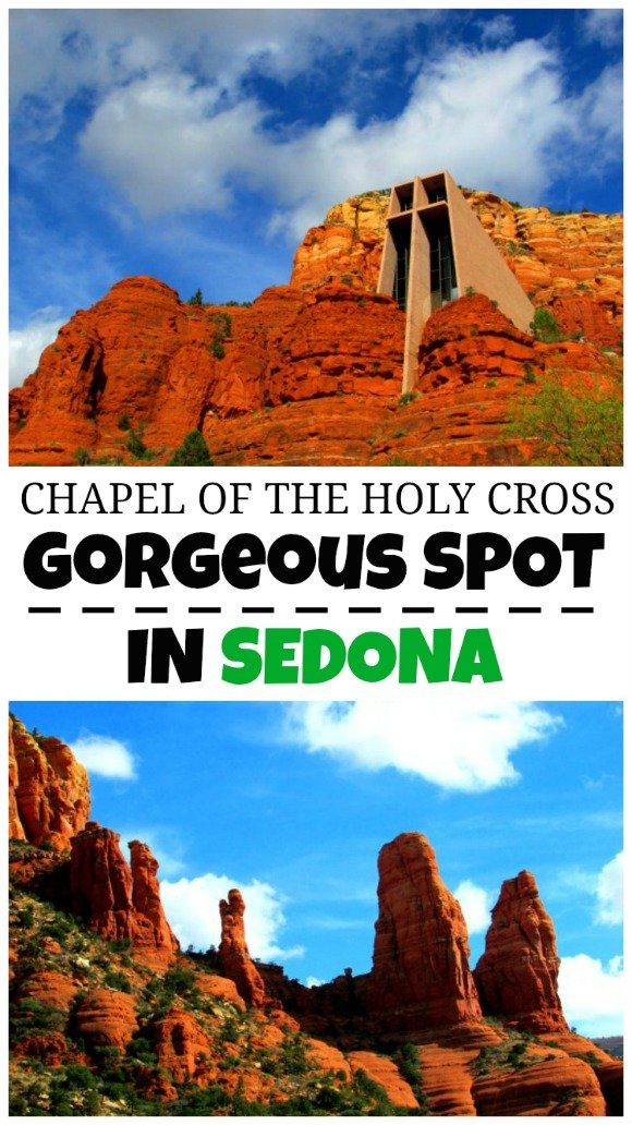 The Chapel of the Holy Cross, a slender structure built into the red rocks and considered one of the man-made wonders of Arizona.