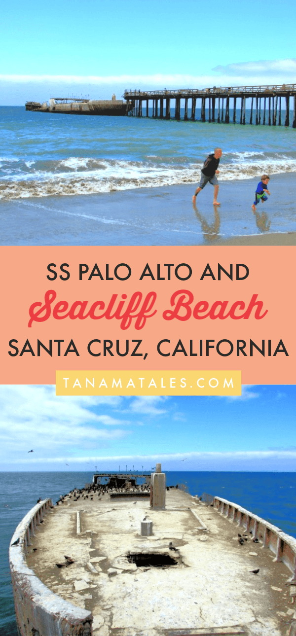 Things to do in Santa Cruz and Aptos, #California - Seacliff State Beach is home to the SS Palo Alto, a concrete ship built at the end of World War I.  Today, the ship is in a state of disrepair and can be observed at the end of a pier.  Sounds weird but other than that the beach offer picnic facilities, a learning center, RV sites, and a campground.  Come and check it out! #roadtrip #beachtown #PCH