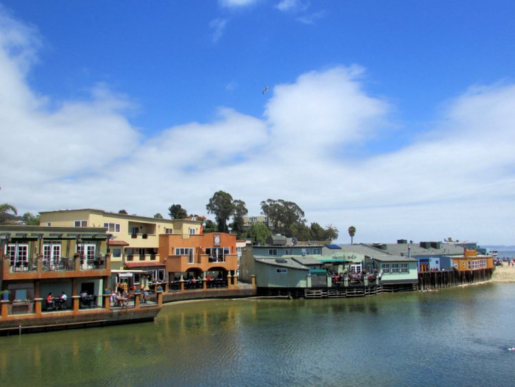 Buildings at the end of Soquel Creek, Capitola, California