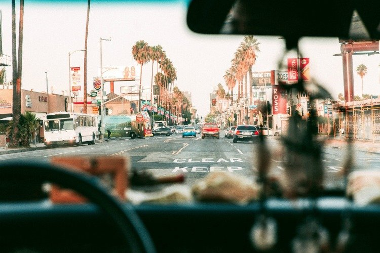 riving in the streets of Los Angeles, California