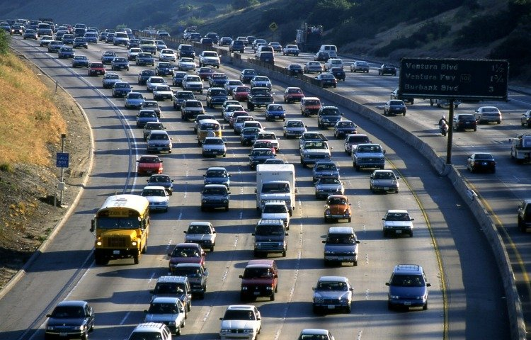 Driving in Los Angeles, 405 Freeway jammed with cars during rush hours