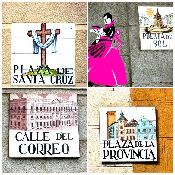 Tiled steet and plaza names, Madrid, Spain