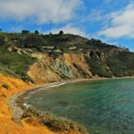 Colorful cliffs and turquoise water at Bluff Cove, Palos Verdes Peninsula, Los Angeles