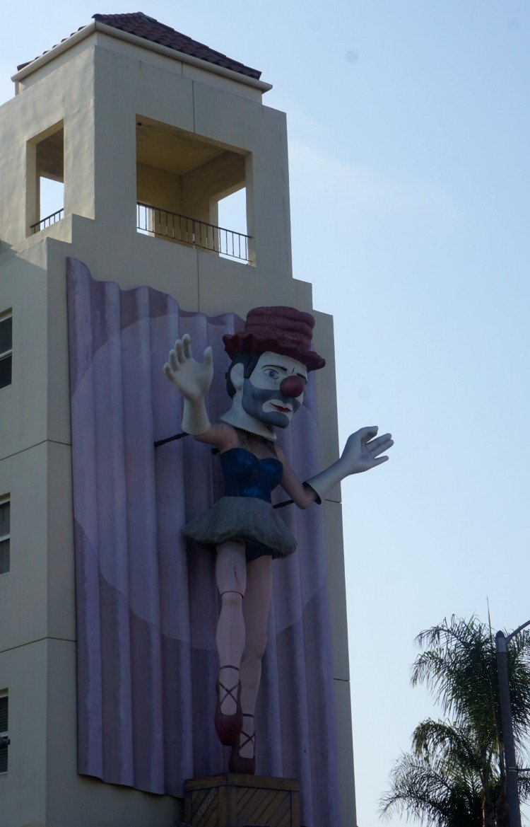 Ballerina clown figure located at the intersection of Rose Avenue and Pacific Street, Venice Beach, Los Angeles
