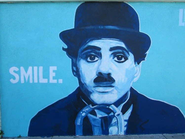 Venice Street Art, Charles Chaplin Smile mural at Venice Boulevard, Venice Beach, Los Angeles