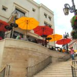One Day in LA, Colorful umbrellas embellishing the famous Rode Drive Steps in Beverly Hills, California