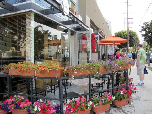 Flowers adorned restaurants in Sawtelle Boulevard, Los Angeles