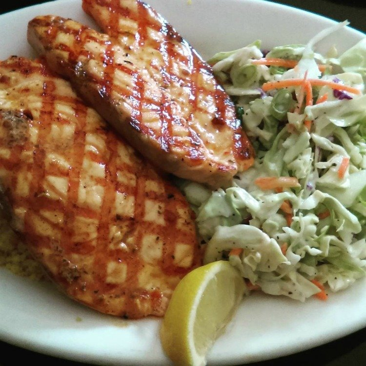 Grilled salmon at Blue Salt Fish Grill, Torrance, California, Torrance Things to Do