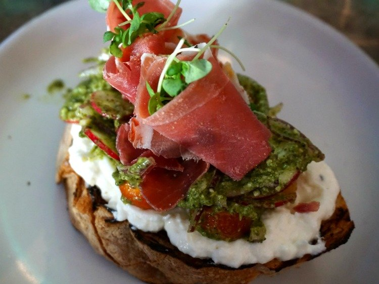 Burrata toast with prosciutto, Tower 12, Hemrosa Beach Restaurants, California
