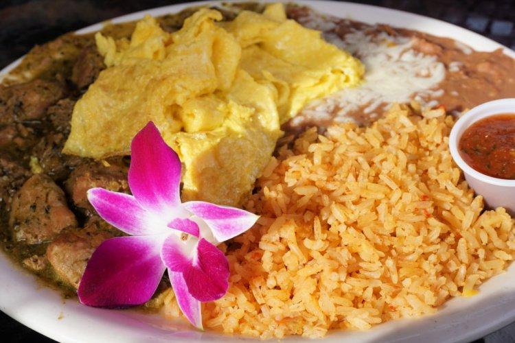 Chile verde breakfast plate at Zorro's Cafe, Shell Beach, California