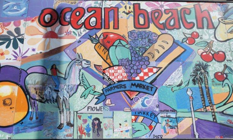 Mural in Ocean Beach, San Diego, LA to San Diego Drive