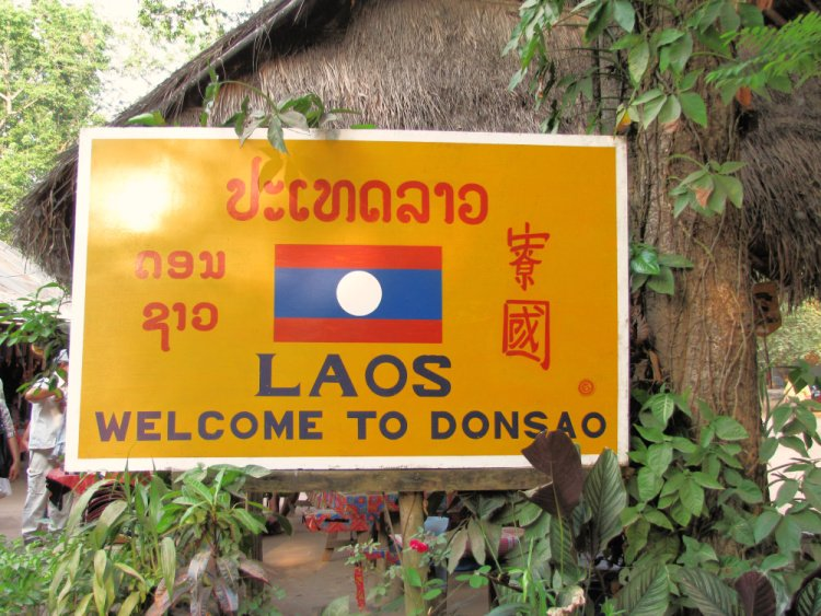 Welcome to Laos sign, Golden Triangle, Thailand