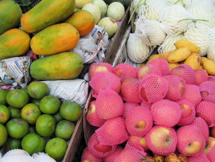 Selection of fruit at market, Bangkok, Thailand