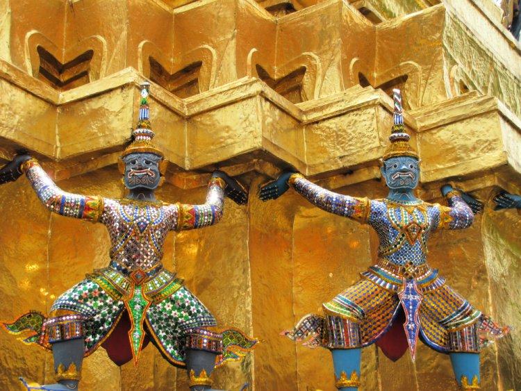 Colorful figures at Grand Palace, Bangkok, Thailand