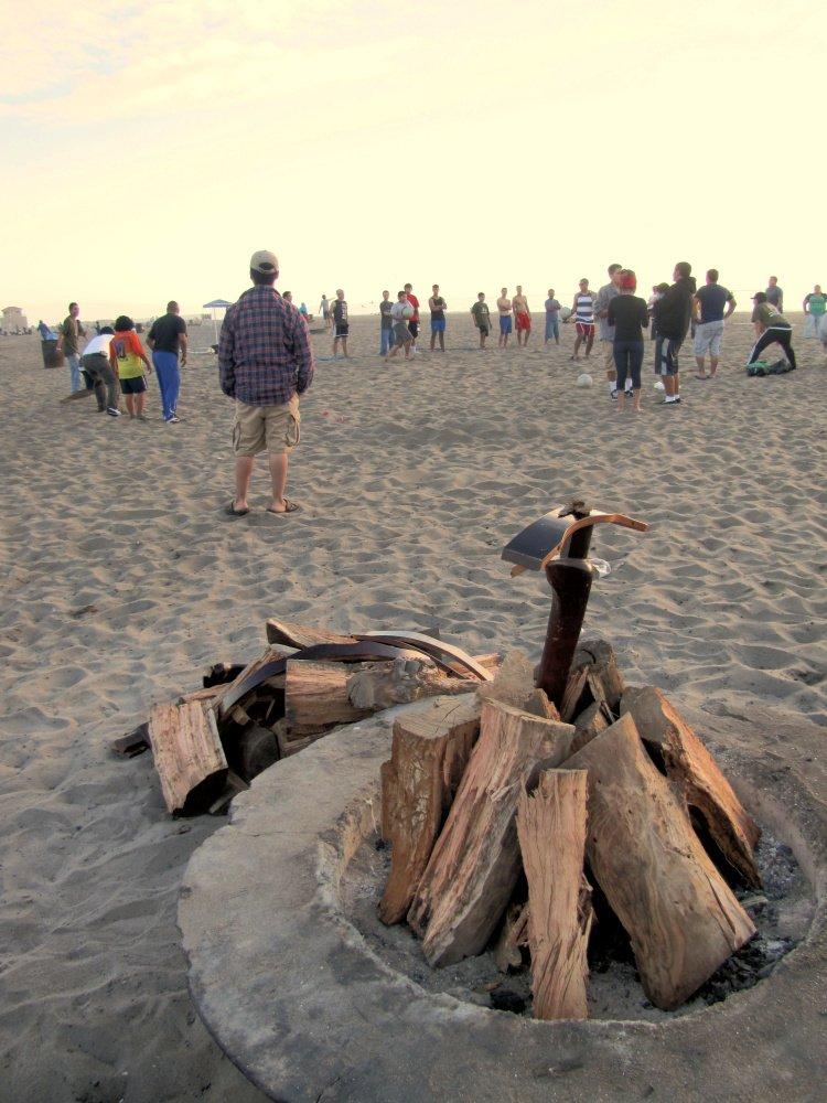 Bonfire at Dockweiler Beach near El Segundo, California