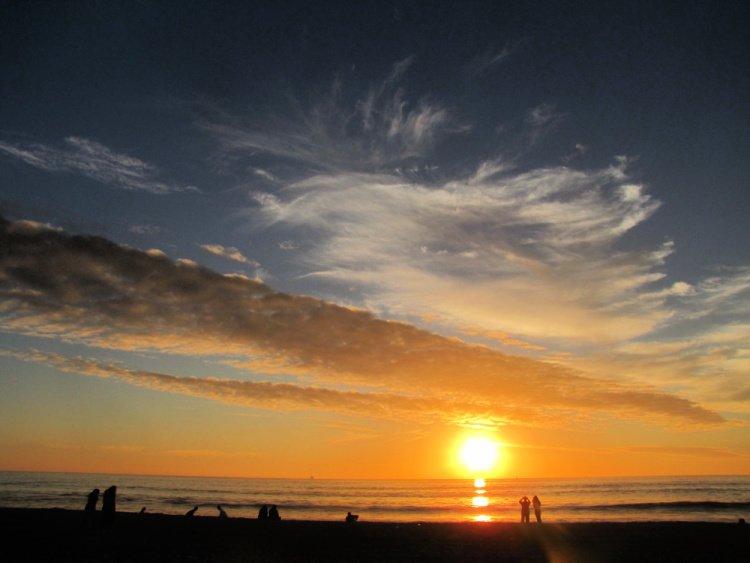 Sunset at Dockweiler Beach near El Segundo, California