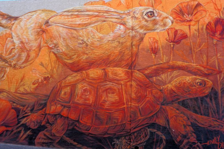 Tortoise and hare mural in Downtown Lancaster, Things to do in Lancaster, California
